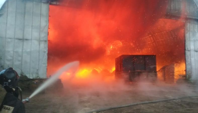 В сети появились фото ночного пожара в Петрозаводске