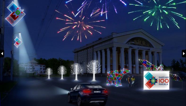 Петрозаводск к Новому году украсят почти тысячей световых консолей